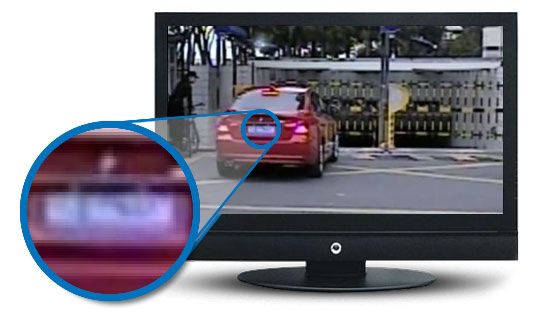 Her ser du et eksempel på overvåkningsvideo i Standard format hvor skiltplaten blir uleselig