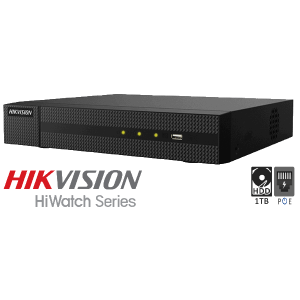Netcam Hikvision 8MP IP 1TB NVR opptaker for 4 kameraer