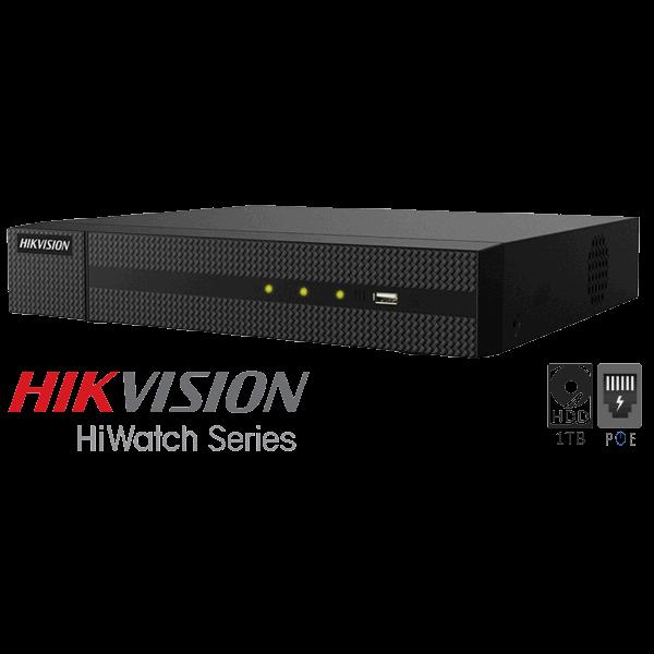 Netcam Hikvision 8MP IP 1TB NVR opptaker for 4 kameraer
