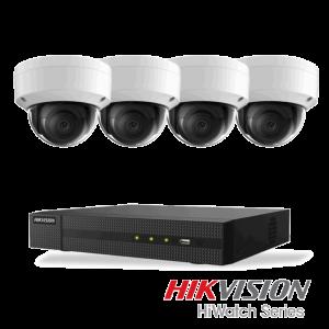 Netcam Hikvision pakke med 4 kameraer IP 8 megapixel & opptaker