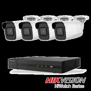 Netcam Hikvision pakke med 4 kameraer IP utendørs 8 megapixel & opptaker