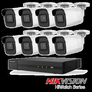 Netcam Hikvision pakke med 8 kameraer IP utendørs 8 megapixel & opptaker