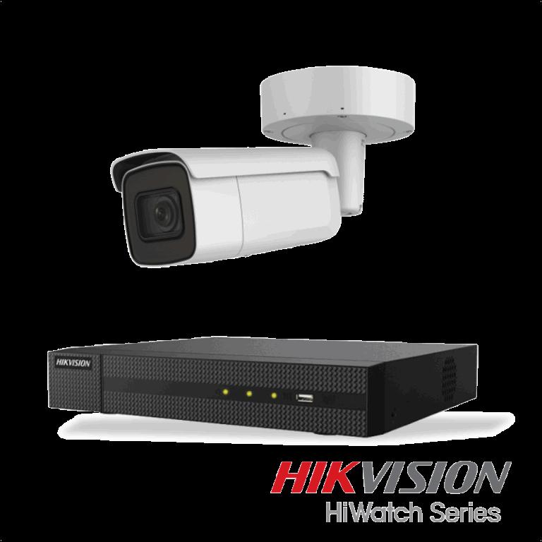 Netcam Hikvision pakke med 1 kamera IP utendørs 8 megapixel og opptaker