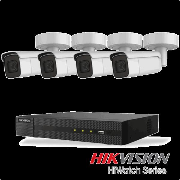Netcam Hikvision pakke med 4 kameraer IP utendørs 8 megapixel og opptaker
