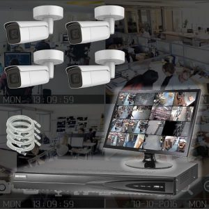 Netcam Overvåkningskamera pakke 4 x IP-kamera utendørs kamera