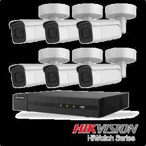 Netcam Hikvision pakke med 6 kameraer IP utendørs 8 megapixel og opptaker