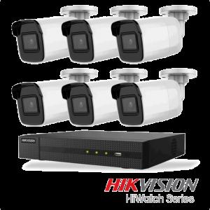 Netcam Hikvision pakke med 6 kameraer IP utendørs 8 megapixel & opptaker