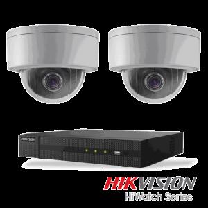 Netcam Hikvision pakke med 2 kameraer IP styrbart 3 megapixel & opptaker