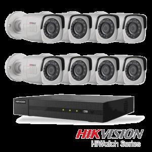 Netcam Hikvision HiWatch pakke med 8 kameraer 2 megapixel utendørs