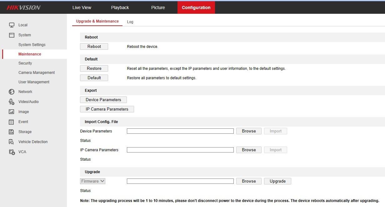 Netcam Hikvision skjermbilde firmware-oppdatering