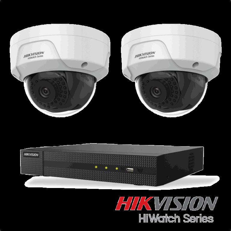 Netcam Hikvision pakke med 2 kameraer IP 4 megapixel & opptaker