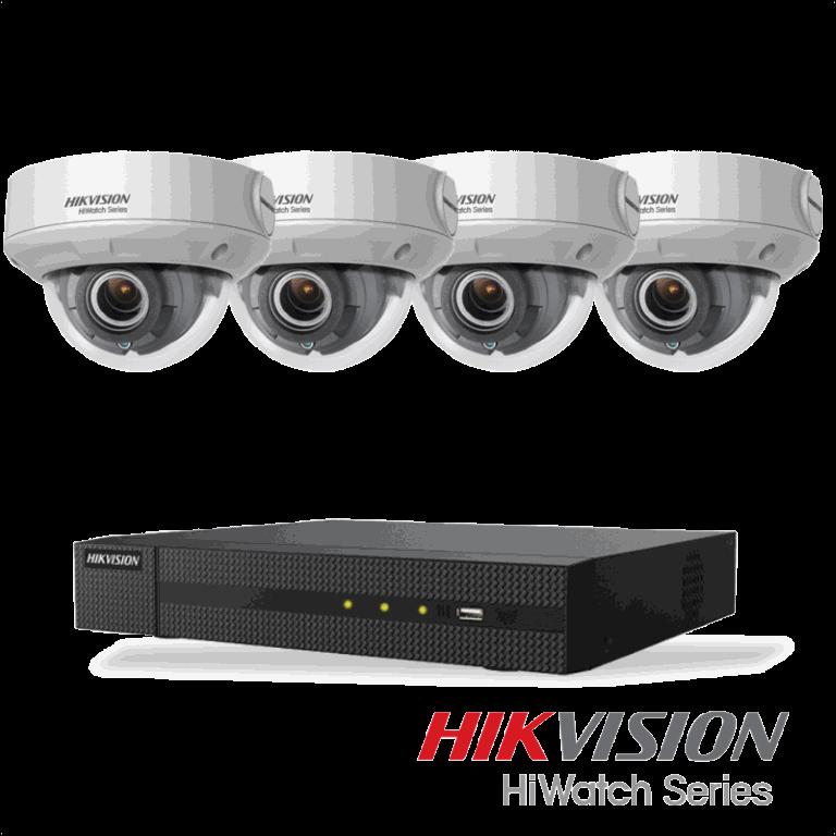 Netcam Hikvision pakke med 4 kameraer IP 4 megapxixel motorisert zoom & opptaker