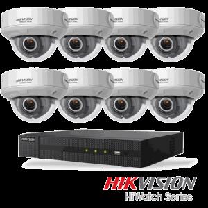 Netcam Hikvision pakke med 8 kameraer IP 4 megapxixel motorisert zoom & opptaker