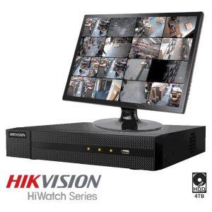 Netcam Hikvision HiWatch 16 analoge kameraer DVR-opptaker 4TB 4K 8MP
