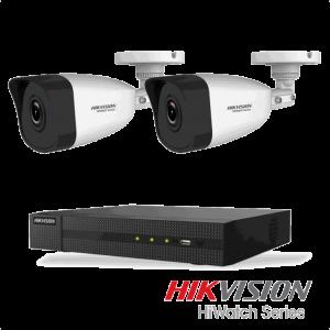 Netcam Hikvision pakke med 2 kameraer IP utendørs 2 megapixel & opptaker