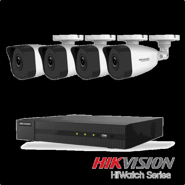 Netcam Hikvision pakke med 4 kameraer IP utendørs 2 megapixel & opptaker