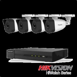 Netcam Hikvision pakke med 4 kameraer IP utendørs 4 megapixel & opptaker