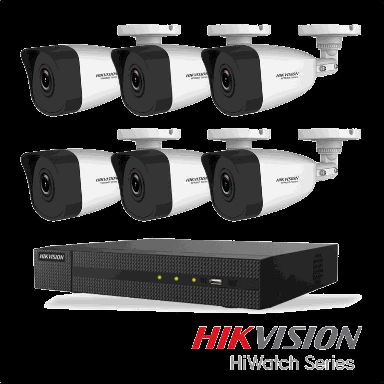 Netcam Hikvision pakke med 6 kameraer IP utendørs 4 megapixel & opptaker
