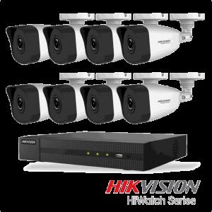 Netcam Hikvision pakke med 8 kameraer IP utendørs 4 megapixel & opptaker