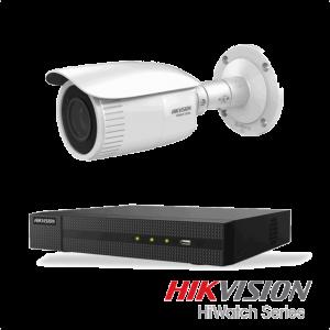 Netcam Hikvision pakke med 1 kamera IP justerbar bildevinkel 4 megapixel & opptaker