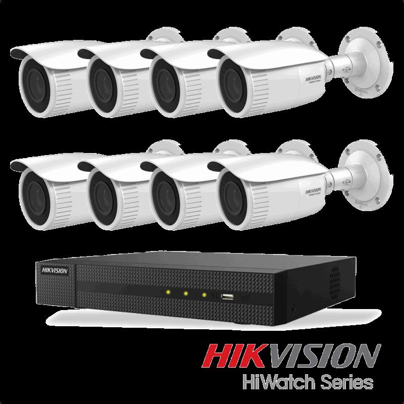 Netcam Hikvision pakke med 8 kameraer IP justerbar bildevinkel 4 megapixel & opptaker