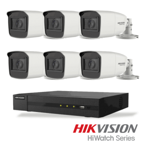 Netcam Hikvision HiWatch 5 megapixel analog overvåkning kamera DVR opptaker pakke 6