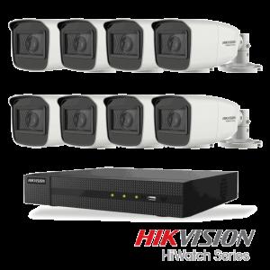 Netcam Hikvision HiWatch 5 megapixel analog overvåkning kamera DVR opptaker pakke 8