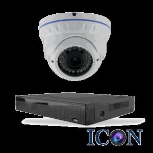 Netcam Icon pakke med 1 HD-SDI dome kamera zoom 2 megapixel & opptaker