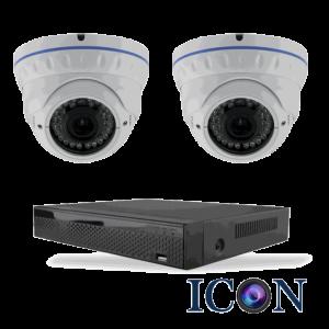 Netcam Icon pakke med 2 HD-SDI dome kamera zoom 2 megapixel & opptaker