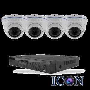 Netcam Icon pakke med 4 HD-SDI dome kamera zoom 2 megapixel & opptaker