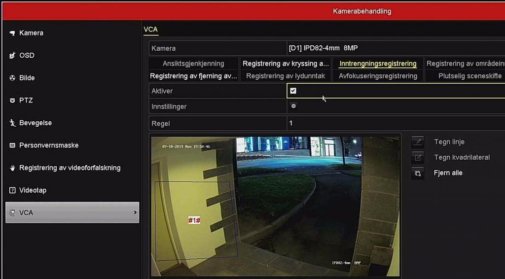 Kameraet har inntrengningsdekteksjon, som kan varsle når noen kommer inn på området - i spesielle tidsrom på døgnet