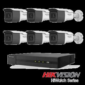Netcam Hikvision pakke med 6 kameraer analog utendørs 8 megapixel zoom & opptaker
