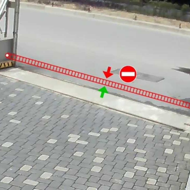 Kameraet har flere smartfunksjoner. Dette viser linjekryssing, som kan ta opp eller varsle når noen bryter linjen i bestemte tidsrom