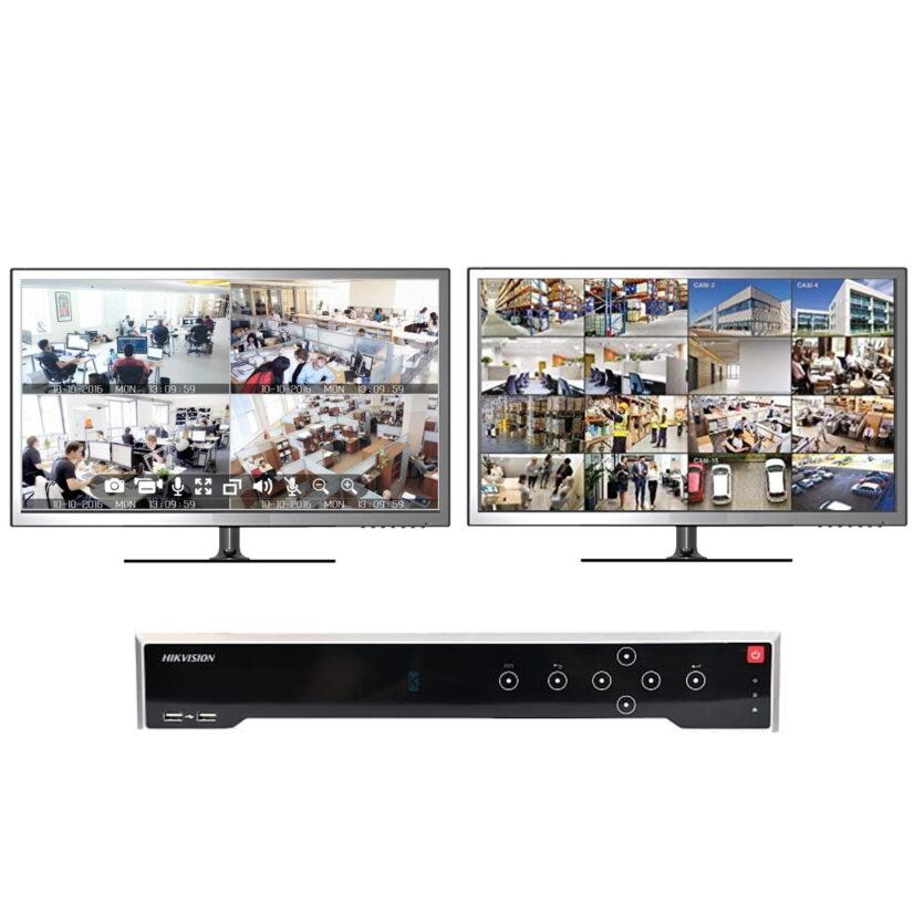 Videoopptakeren kan kobles til to skjermer med visning av forskjellige kameraer (illustrasjonsbilde)