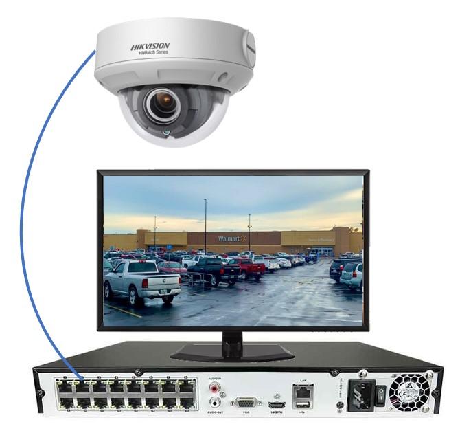 Kameraet kobles til en NVR med en enkel nettverkskabel, som sender både video og strøm i samme kabel